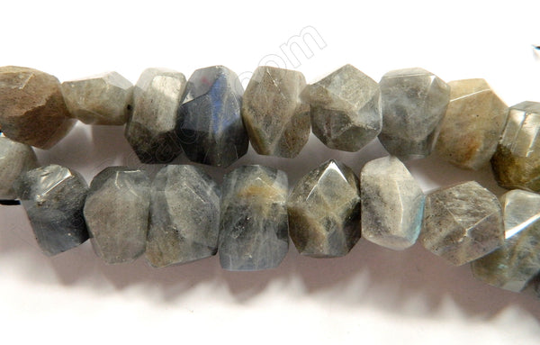 Labradorite AAA -  Center Drilled Faceted Nugget 16""