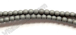 Matte Hematite  -  Small Smooth Round Beads  16""