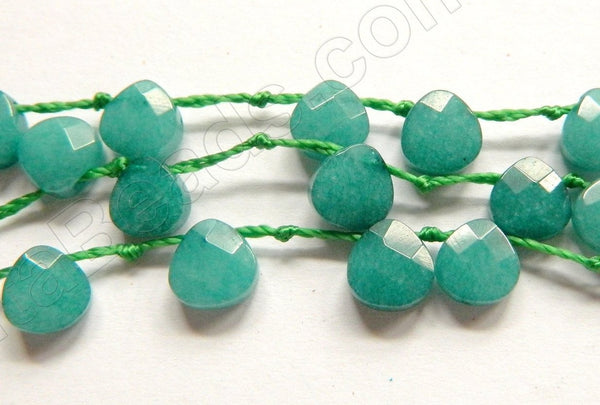 Emerald Jade -  7mm Faceted Flat Briolette 16""
