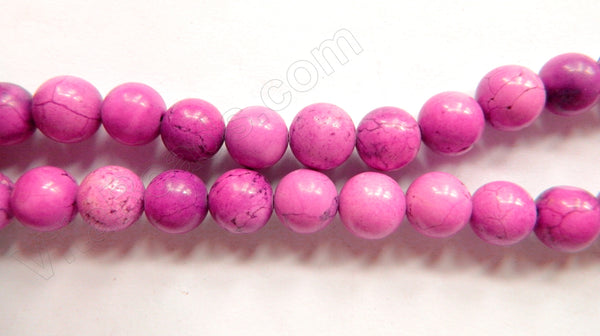 "Multi Pink Fuchsia Turquoise - Smooth Round Beads   16""     10 mm"