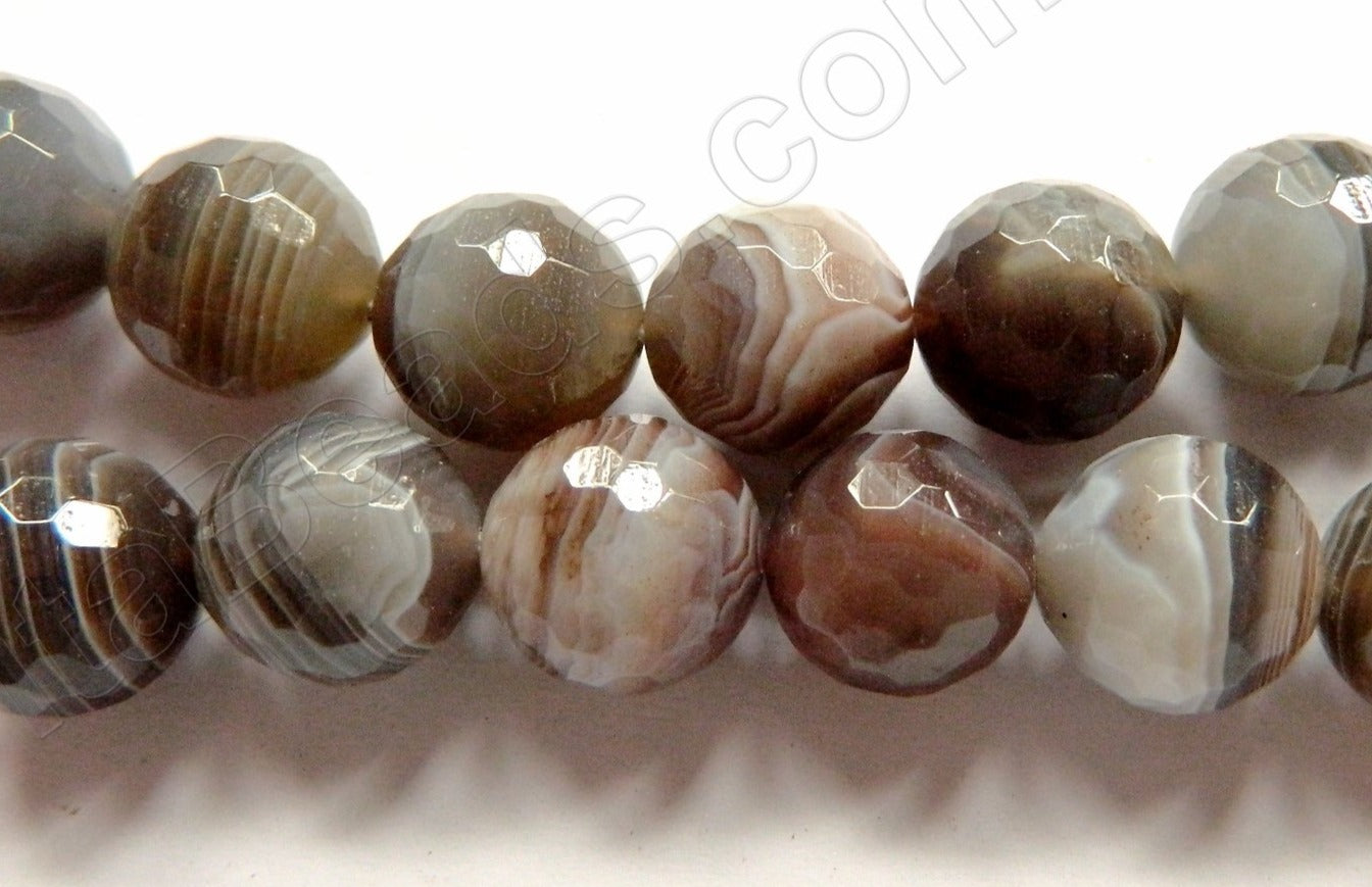 Botswana Agate Brown AAA  -  Faceted Round   16""