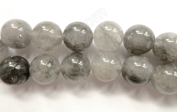 Grey Quartz  -  Smooth Round Beads  16""