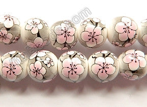 Porcelain Beads - White w/ Pink Cherry Smooth Round Beads  16""