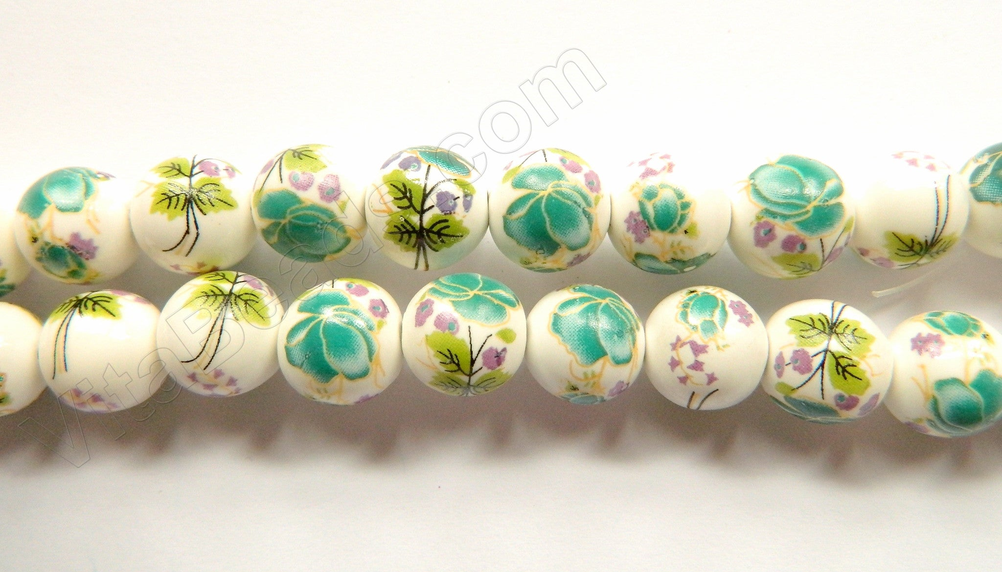 Porcelain Beads - White w/ Green Flora Beads  - 12 mm Smooth Round