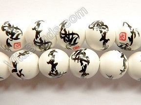 Porcelain Beads - White w/ Black Calligraphy Smooth Round Beads  16""