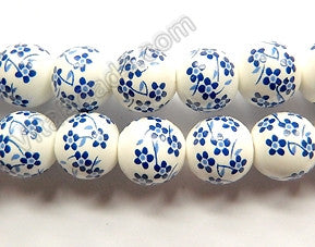 Porcelain Beads - White w/ Blue Cherry Smooth Round Beads  16""