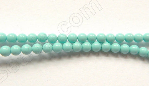 "Light Blue Green Turquoise  -  Small Smooth Round Beads   16""     3mm"