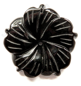 Black Onyx - Carved 5-Petal Flower Pendant