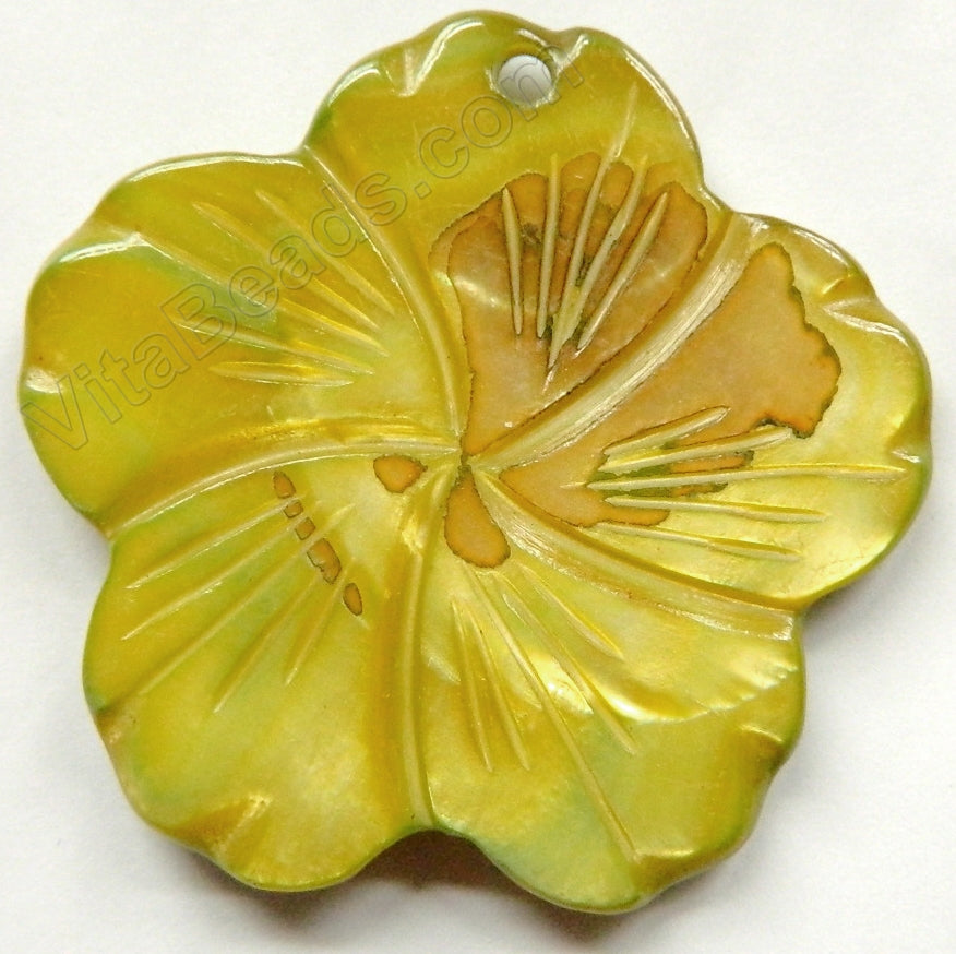 Big Carved Shell Flower Pendant - 02