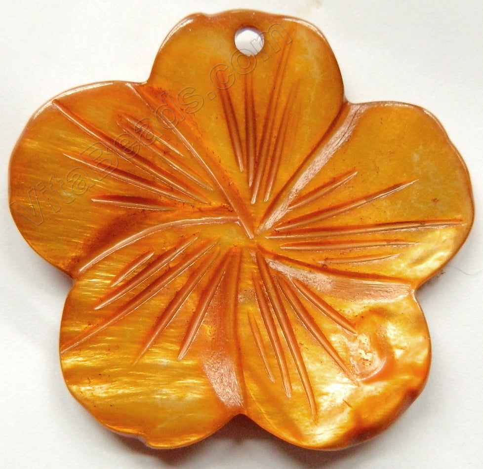 Big Carved Shell Flower Pendant - 03