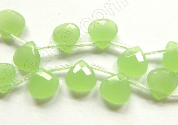 Light Olive Chalcedony Quartz  -  10mm Faceted Flat Briolette  16""