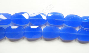 Dark Blue Chalcedony Qtz  -  Irregular Faceted Flat  16""
