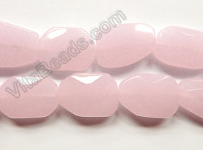 Pink Chalcedony Qtz  -  Irregular Faceted Flat  16""