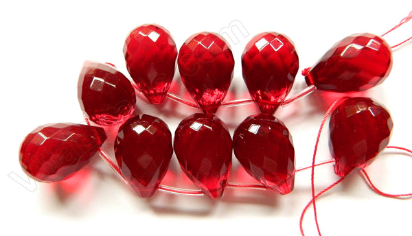 Red Win. Quartz  -  18x25mm Faceted Teardrop 8""