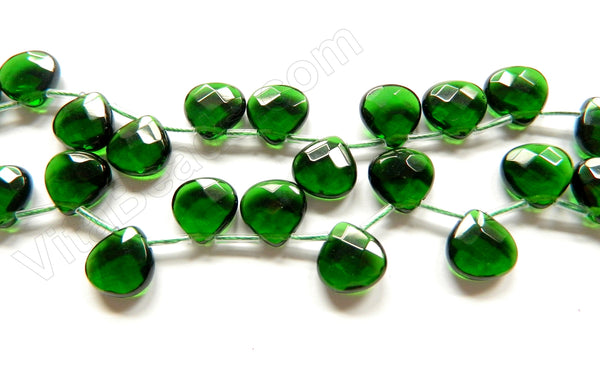 Deep Green Crystal New  -  13mm Faceted Flat Briolette 16""