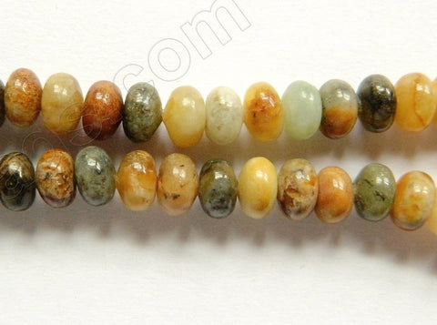 "Fire New Jade  -  Smooth Rondel  16""    6 mm"