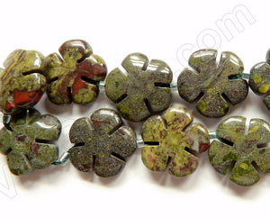 "New Bloodstone  -  Carved 5 Petal Flower Strand  16""    20 mm"