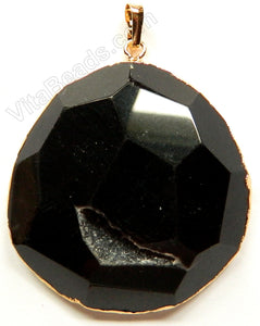 Faceted Irregular Pendant - Black Onyx w/ Quartz