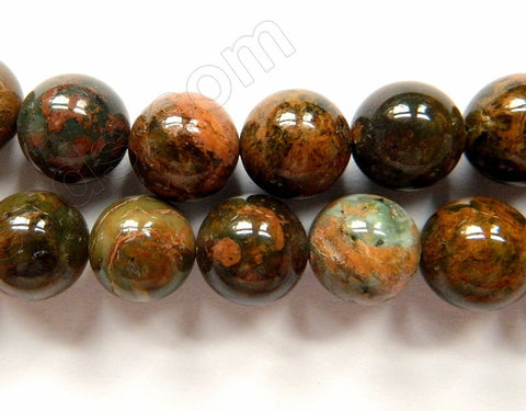 Golden Chinese Turquoise Natural AAA  -  Smooth Round Beads   16""