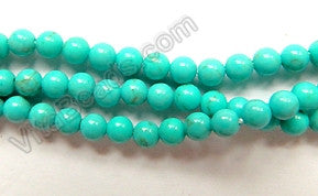 "Blue Green Stablelized Turquoise  -  Small Smooth Round Beads  16""      3mm"