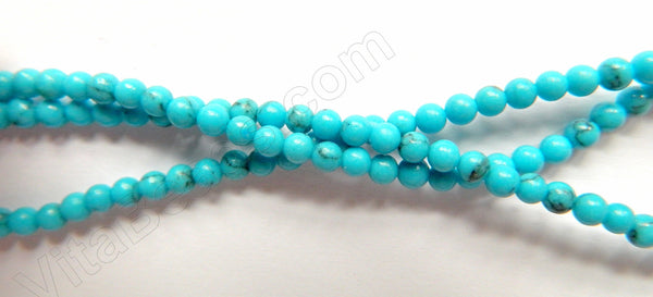 "Blue Turquoise w/ Matrix  -  Small Smooth Round Beads  16""   3mm"