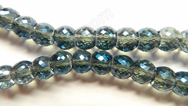 Blue Peacock AB Crystal  -  11x9mm Faceted Drum 7""