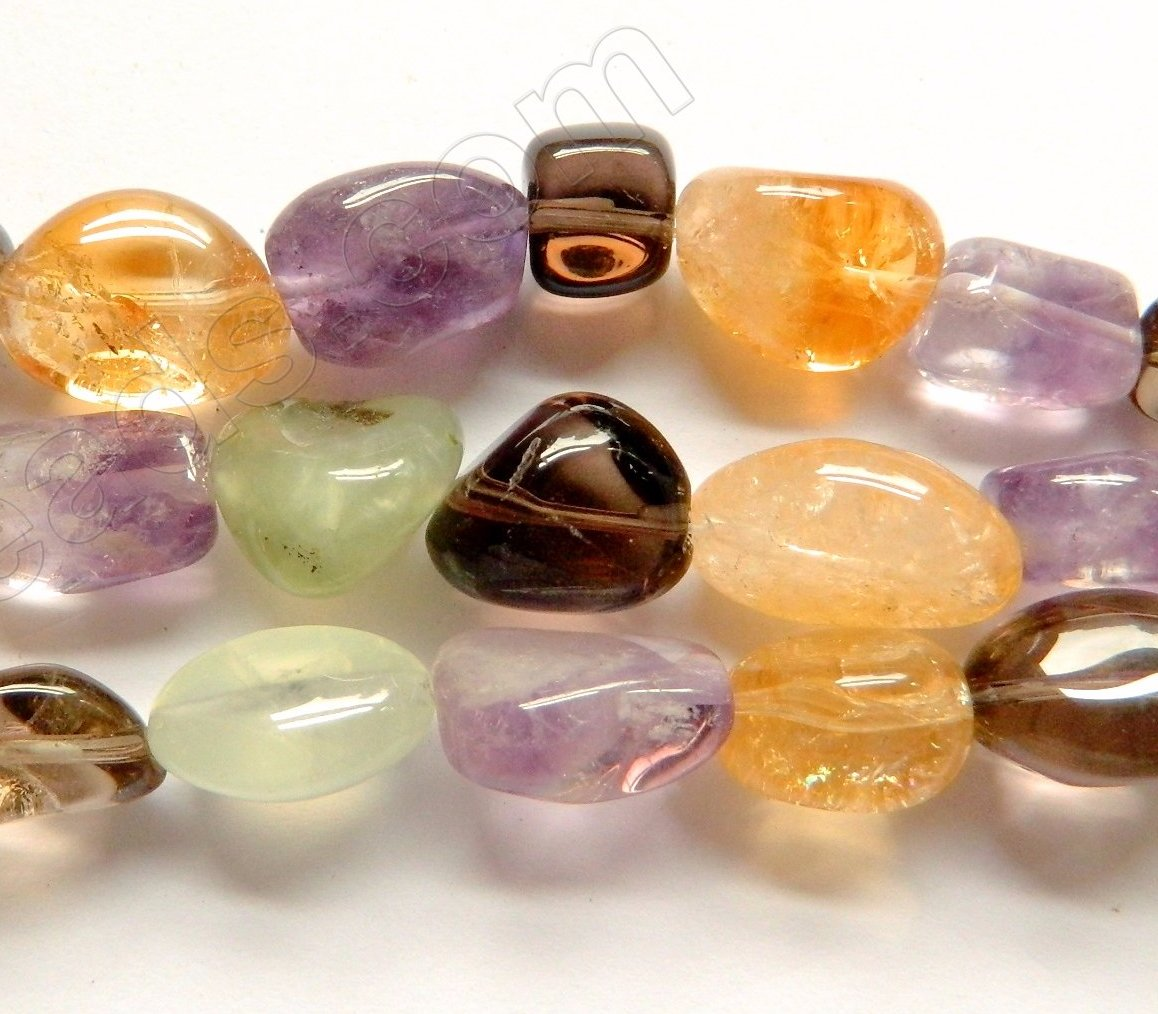 Mixed Prehnite, Rose, Amethyst, Citrine, Crystal, Smoky - Smooth Tumble 16""