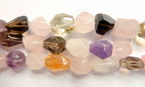Mixed Quartz, Rose Qtz, Smoky, Crystal & Amethyst -  Faceted Tumble  16""