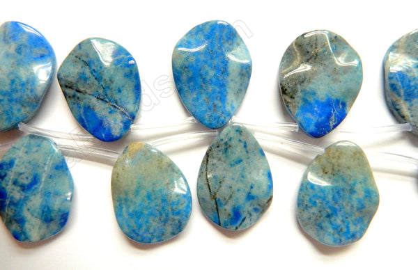 Aqua Lapis Lazuli Natural AAA  -  Waved Top Drilled Briolette 8""