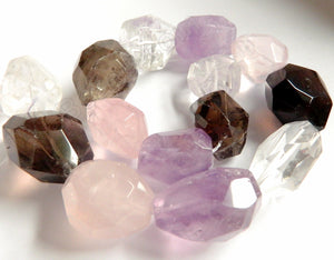 "Mixed Quartz, Smoky, Crystal, Rose Qtz & Amethyst  -  Big Faceted Tumble  16""     14 x 18 mm"