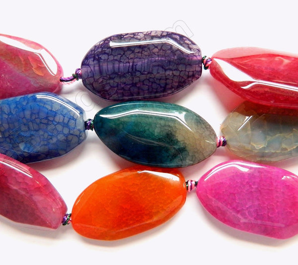 Mixed Bright Fire Agate  -  Irregular Faceted Long Oval Slab 16""