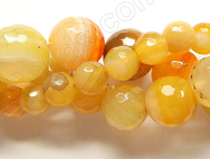 Yellow Orange Botswana Agate  -  Faceted Round  16""