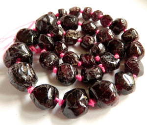 Garnet - Smooth Cut Tumble Necklace 16""