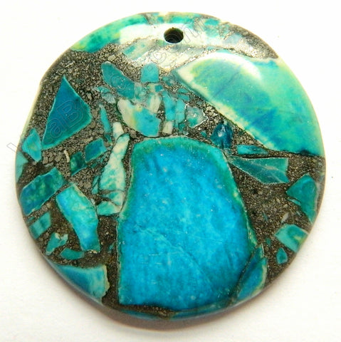 Blue Green Opal Pyrite AA  -  Smooth Round Pendant