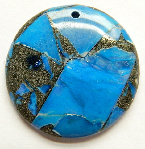 Blue Opal Pyrite AA  -  Smooth Round Pendant