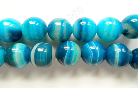 Aqua Blue Sardonix Agate AAA  -  Big Smooth Round Beads  16""