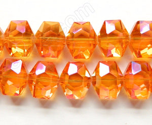 Orange AB Coated Crystal  -  Faceted Hexagon  8""