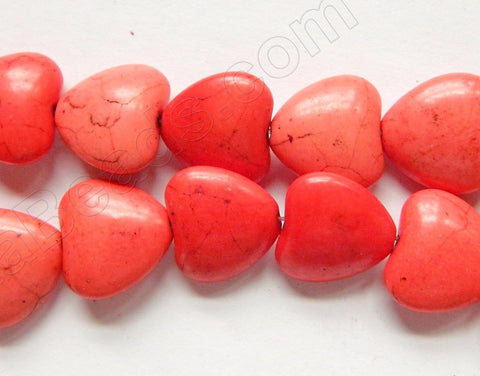 Red Pink Crack Turquoise  -  Puff Hearts  16""