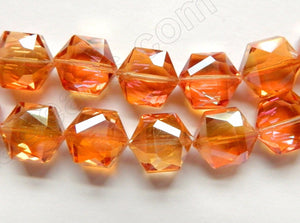 Dark Amber Crystal  AB Coated  -  Faceted Hexagon  8""