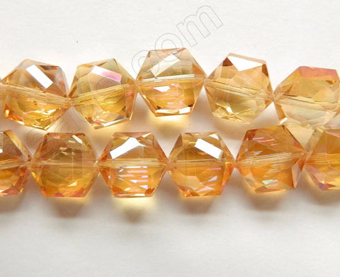 Light Amber Crystal  AB Coated  -  Faceted Hexagon  8""