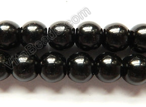 "Black Glass Pearl   -  Smooth Round  16""     10 mm"