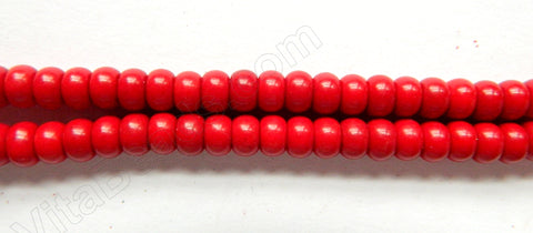 "Dark Red Turquoise  -  Smooth Rondels 16""    6 mm"