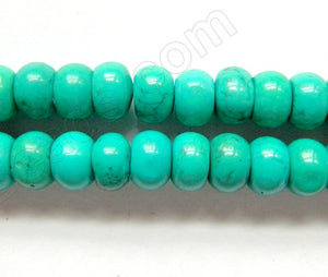 "Dark Blue Green Chinese Turquoise A (Natural)  -  Rondels  16""   8 x 5 mm"