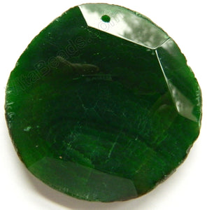 Faceted Irregular Round Pendant - Dark Green Fire Agate