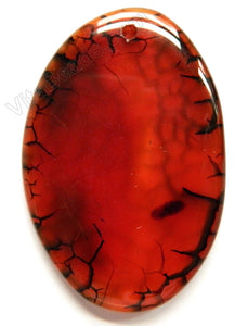 Smooth Free Form Pendant - Bright Red Black Fire Agate