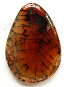 Smooth Free Form Pendant - Light Red Black Fire Agate
