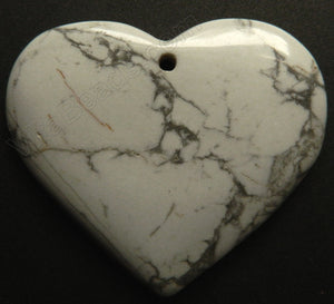 Pendant - Smooth Heart    Howlite White