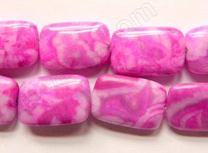 Fuchsia Crazy Lace Agate  -  Puff Rectangles  16""