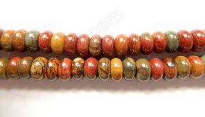 Fire Impression Jasper  -  Smooth Rondels  16""