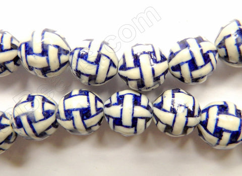 "Porcelain Beads - White w/ Blue ""Cross"" Design - Smooth Round Beads  16"""